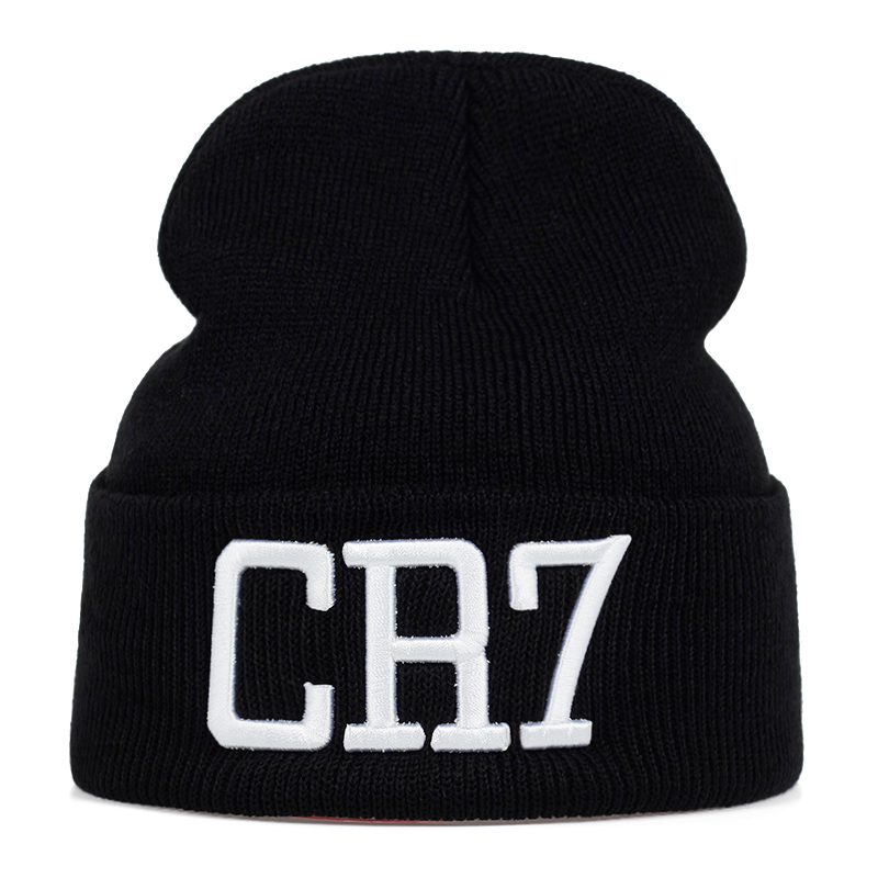 2019 Winter Lady 100%cotton Hat New Men And Women CR7 Knitting Embroidery Letter Wool Hats Skullies Cap Warm Winter Ski Caps
