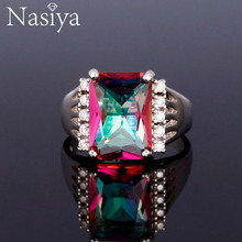 Nasiya Top Sale Multicolor Topaz Gemstone Ring For Women 925 Sterling Silver Classic Fine Jewelry Anniversary Gift Mothers Day
