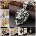 High Quality Silver Gold Black CZ Lion Head Pendant Neckalce 316L Stainless Steel Cool Men's Jewelry Free 60cm Chain Hot SELL