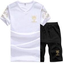 Tracksuit Men Casual Brand Tee Shirts 2019 Summer New Fashion Gyms Sportsuit Shirt Set Mens T Shorts Short Pants Male