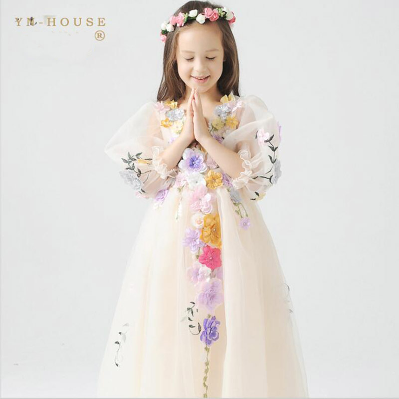 2017 New High quality Kids princess dress for baby girls Flower Fairy Costume kids party christmas dresses for girls 2017 new high quality kids princess dress for baby girls flower fairy costume kids party christmas dresses for girls