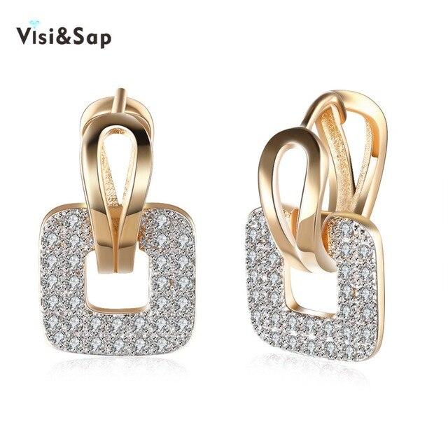 Visisap Large Square Shape Aaa Cubic Zirconia Hoop Earrings For Women Cute S Earring Fashion Jewelry