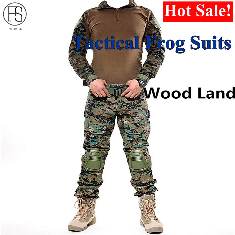 Army Military Camouflage Suits Frog Suit Men Uniform Sniper Combat Shirt Pants Sniper Tactical Hunting Clothing Set Knee Pads kryptek mandrake frog fighting suit police frog uniforms army trainning uniform set one long sleeve shirt and one tactical pant