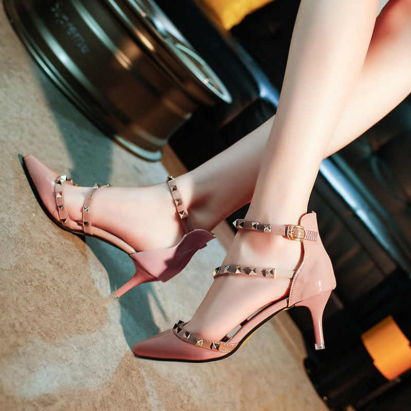 Summer Style Pumps Rivets Ankle Strap women Party Shoes Woman Sexy High Heels  Pointed Toe pink c5d4a29728c