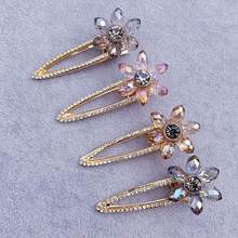 Ubuhle Fashion Korean Hairpins with Crystal Flower Hair Clips Hairband Women Girls Barrette Hairpin Headdress Accessories