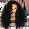 Mongolian Afro Kinky Curly Lace Front Human Hair Wigs for Black Women 180 density Virgin Human Hair Curly Lace Front Wig Cheap