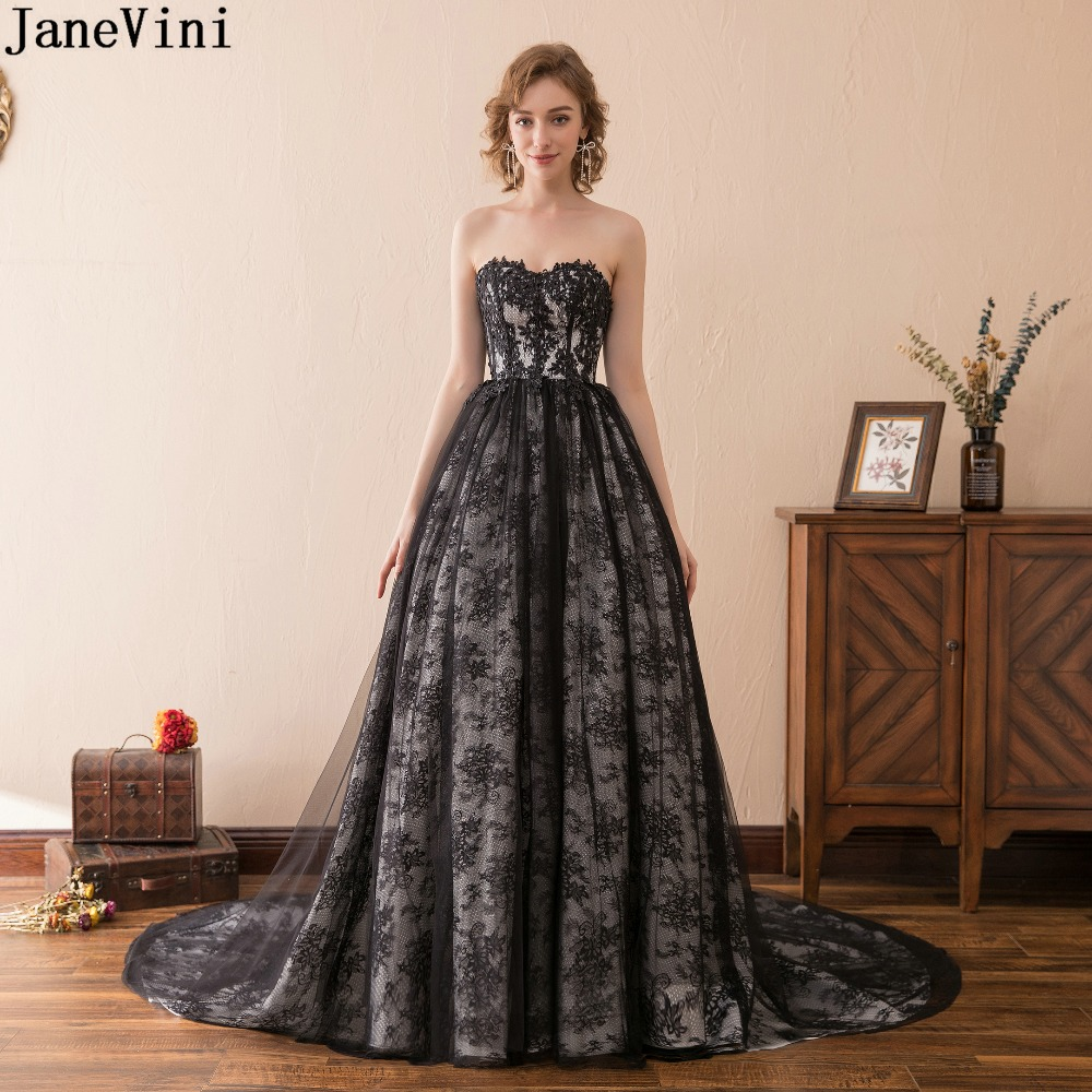 JaneVini Elegant Black Ball Gown Long   Bridesmaid     Dresses   Sweetheart Appliques Backless Lace Plus Size Women Formal Party Gowns