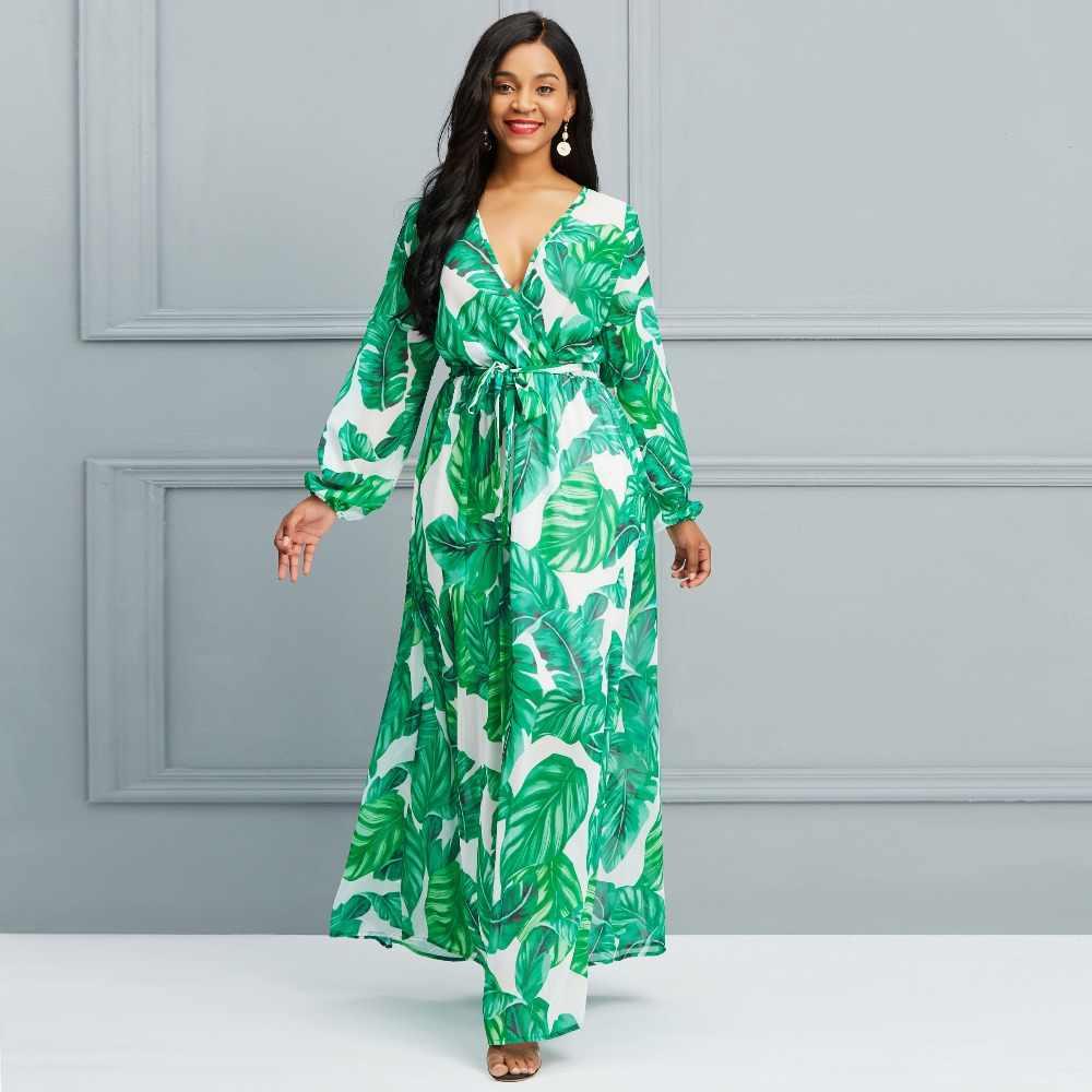 e0f9fa627c0dd Для женщин шифоновое длинное платье с принтом зеленый лист Фонари рукавами  на шнуровке Модные макси платья