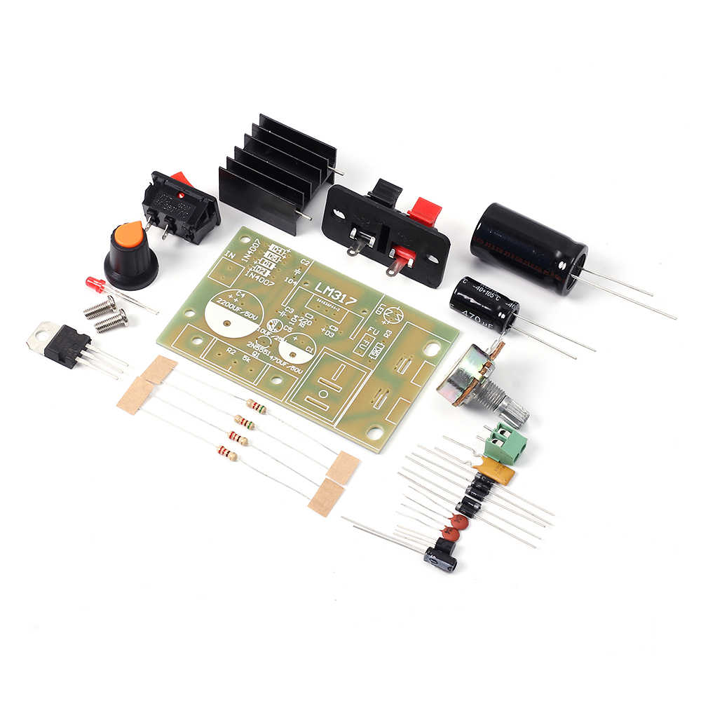 LM317 ขั้นตอนลง Power Supply โมดูลปรับแรงดันไฟฟ้าสวิทช์ฟิวส์ Electrolytic Capacitor DIY ชุด