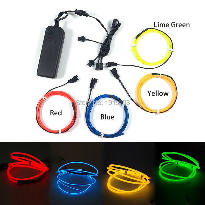 DC3V Batterycase Led Strip DIY Toy Model 4Pcs x 1Meter Colorful 2.3mm EL WIre Rope Tube for Handicraft Christmas Tree Decorative