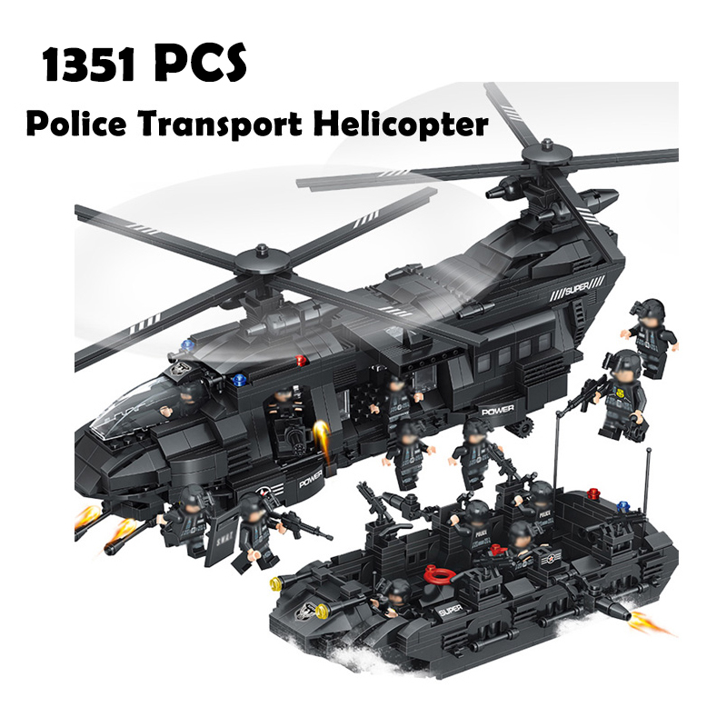 Compatible with lego Models building QL0108 1351PCS City Military SWAT Police Transport Helicopter Building Blocks toy & hobbies bohs building blocks city police station coastal guard swat truck motorcycle learning
