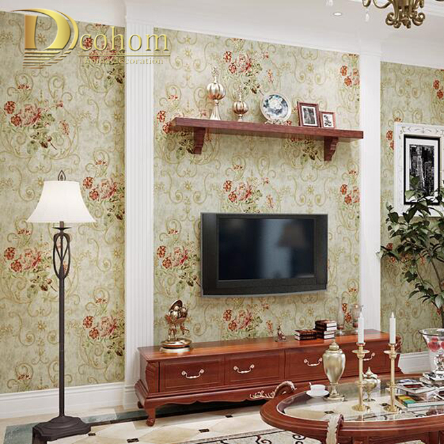 Awesome American Pastoral Vintage Luxury Flower Wallpaper Bedroom Living Room  Restaurant Blue Purple Red Rose Floral Wall Part 32