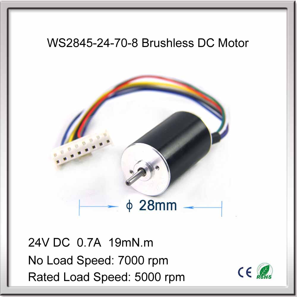 Free shipping 14W 7000rpm 24V DC 0.7A 19mN.m 28mm x 45mm Miniature High-Speed Brushless DC Motor for Fan brushless motor free shipping 1000w 36v dc brushless