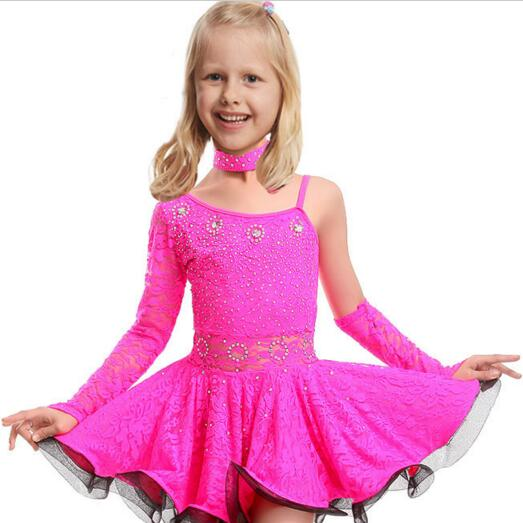 Girl Sexy Unequal Competition Latin Dance Dress For Girls Kids Salsa Ballroom Tango Dresses Costume Latin Dance Dress Children