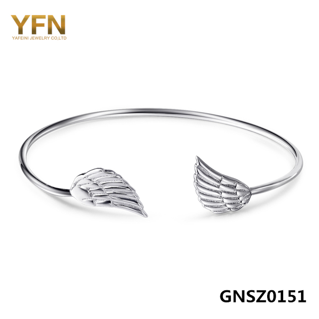 GNSZ0151 Genuine 925 Sterling Silver Cuff Bracelet with Angel Wings Opening Bangle Bracelet Fashion Jewelry For Women