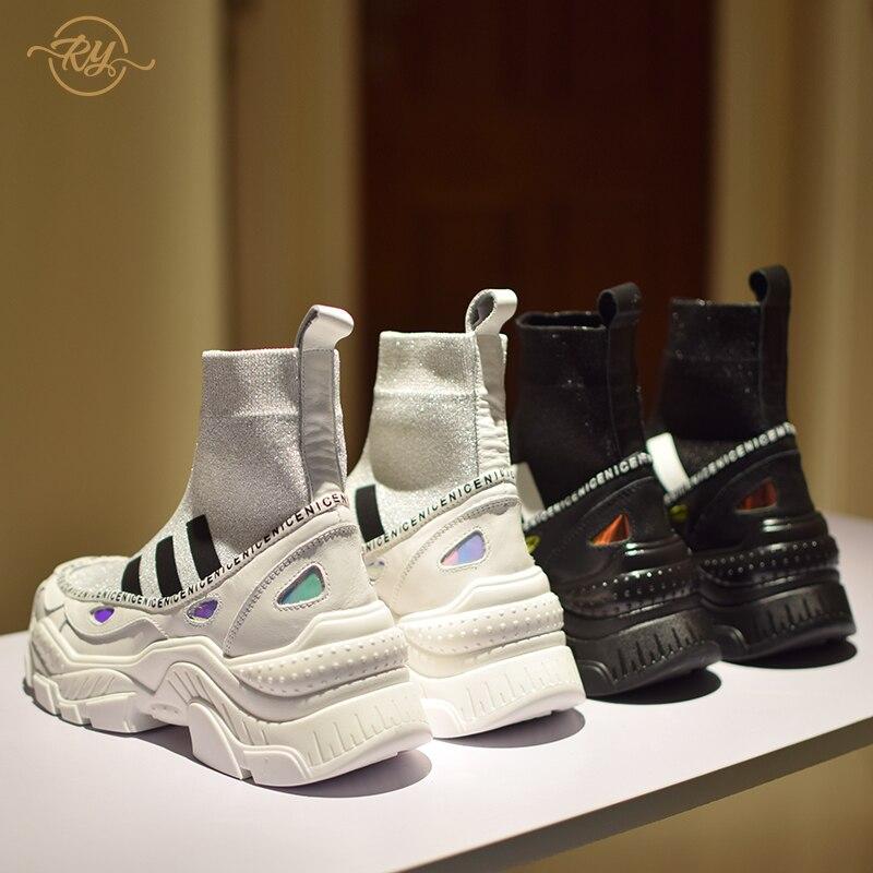 RY-RELAA femmes baskets 2018 chaussures de luxe femmes designers en cuir véritable noir baskets chaussures décontractées femmes chaussures blanc cassé