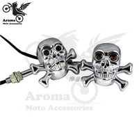 Sliver 12V Universal Skull Decal Motorcycle Turn Signal Light Amber And Blue Yellow Color Moto Indicator