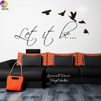 The Beatles Music Song Lyrics Let It Be Wall Sticker Kids Room Living Room Bird Inspiration