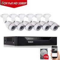 Тонтон 1080 P 8CH 5 в 1 DVR hd 1 ТБ CCTV Системы 2.0MP 6 шт. ИК Видео видеонаблюдения Камера Системы 8 канальный DVR комплект Onvif