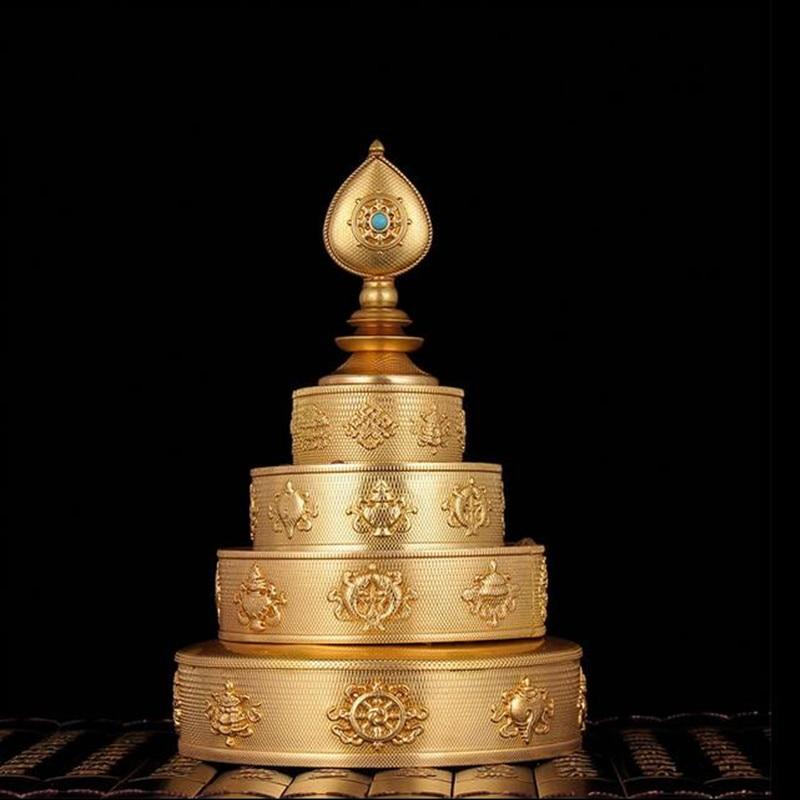 Tibetano Buddista Forniture Otto di Buon Auspicio Solido di Rame Manzanar Vassoio Casa Mettendo Decorazioni-in Statuine e miniature da Casa e giardino su  Gruppo 1