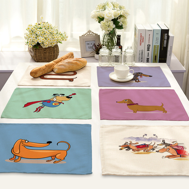Yilin 2019 New Creative Design Cartoon Dogs Dining Table Mat Linen Rectangle Placemats Kitchen Accessories Decoration Home