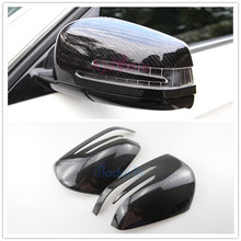 цена на For Mercedes Benz AMG E Class W212 E200 E260 E320 2010-2015 Carbon Fiber Mirror Overlay Rear View Cover Car Styling Accessories