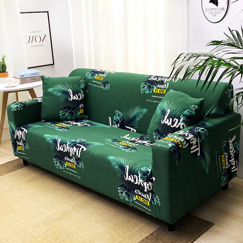 1pc Leaf and Flower Printed Sofa Cover Made of Polyester and Spandex Fabric for L Shaped and Corner Sofa 20