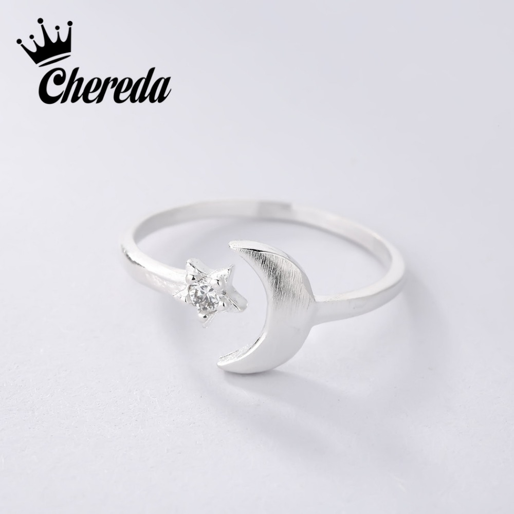 Chereda New Fashion Ring For Women Lady Classic Rings Jewelry Moon Star Silver Color Trendy Party Engagement Accessories Gift