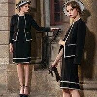 Костюмы для женщин офисная Деловая одежда комплект из 2 предметов Униформа Тонкий Блейзер пальто платье элегантное, миди 2019 плюс размер