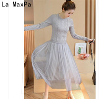 LA MAXPA 2017 Autumn Fashion High Temperament Winter Dress O Neck Slim Long Sleeve Long Knitting