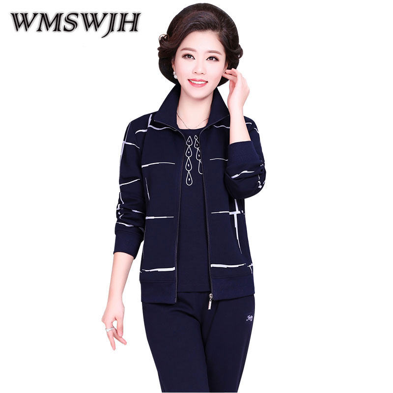 Middle Aged Sportswear Suit 2019 Spring Autumn New Women Loose Large Size Leisure Three piece Middle