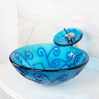 High Quality 4247 Tempered Glass Vessel Round Bathroom Wash Basin Sink With Pop Up Drain And