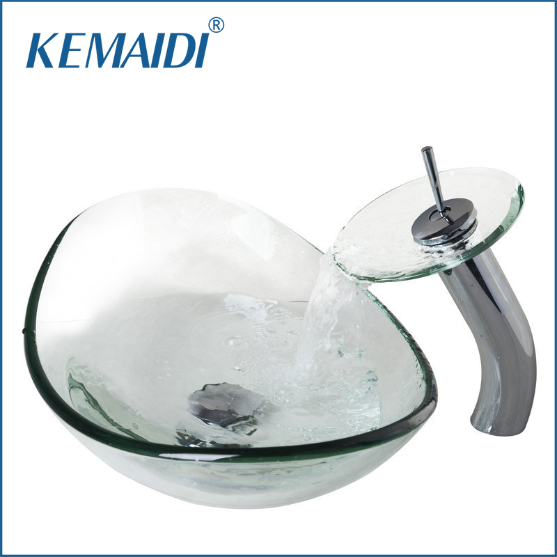 KEMAIDI Good Quality Oval Glass Vessel Sinks Tempered Glass Sink With Brass Faucet Bathroom Sink Set With Pop Up Drain 4104-1 цена и фото