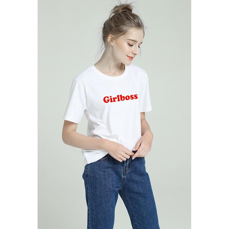 2019 Summer Funny Sexy Harajuku Grilboss Tshirt Women Cotton Modis Plus Size T Shirt Femme Tumblr Print Short Sleeve Top Tees