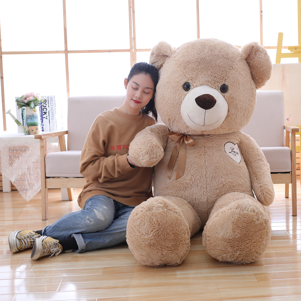 Miaoowa 110cm Cute Staffed Teddy Bear Wear Bowknot Plush Toy Soft Animal Bear Doll Kids Toy Kawaii Birthday Gift for Girlfriend