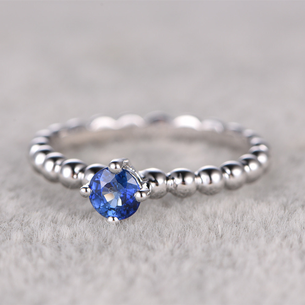 Rings For Women 14k White Gold 045ctw Blue Sapphire Engagement Ring  Solitaire Wedding Band Gemstone Promise Bridal Set