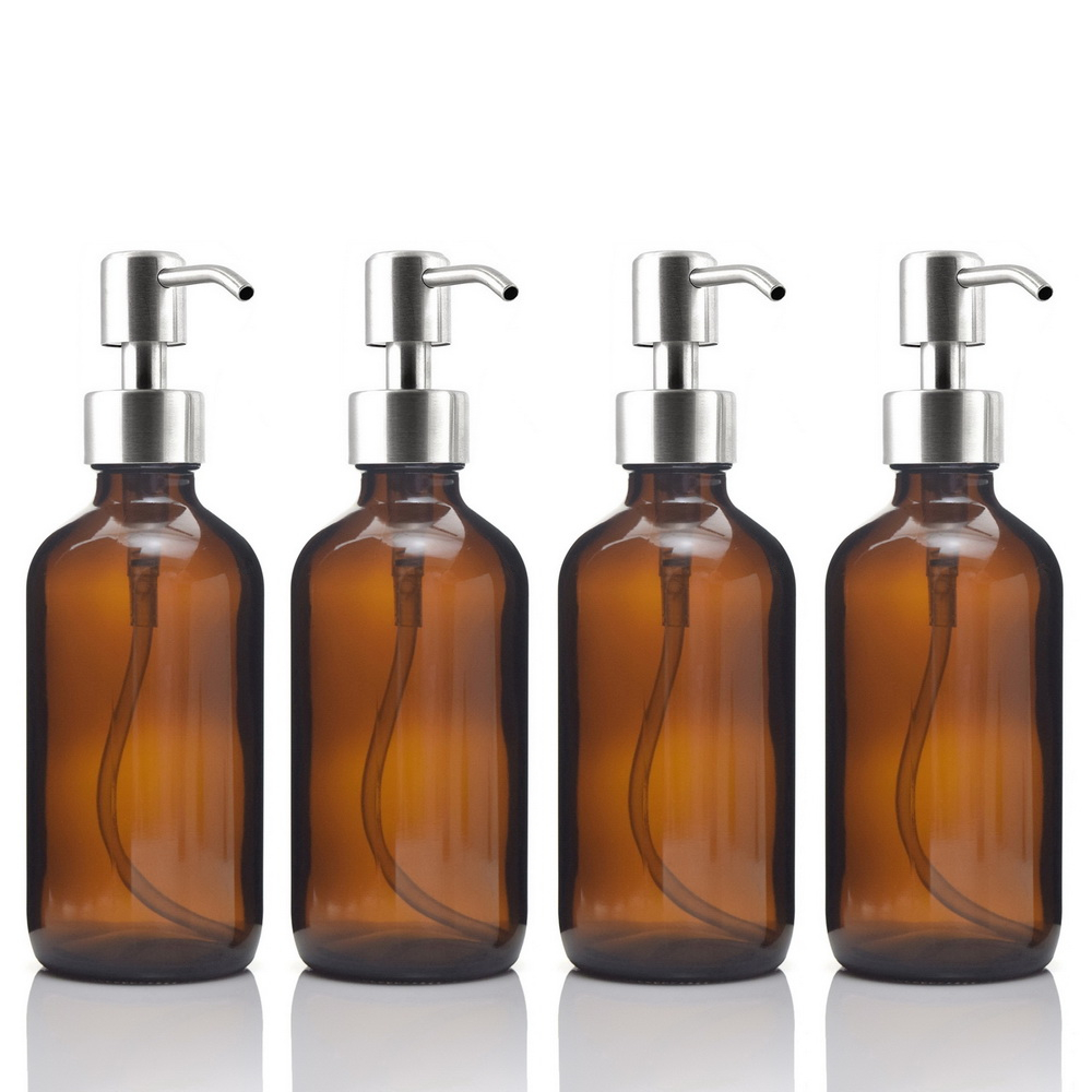 4pcs 8 Oz Amber Glass Boston Round Bottle W/ Stainless Steel Pump For Kitchen Bathroom Liquid Soaps Essential Oils Lotions 250ml
