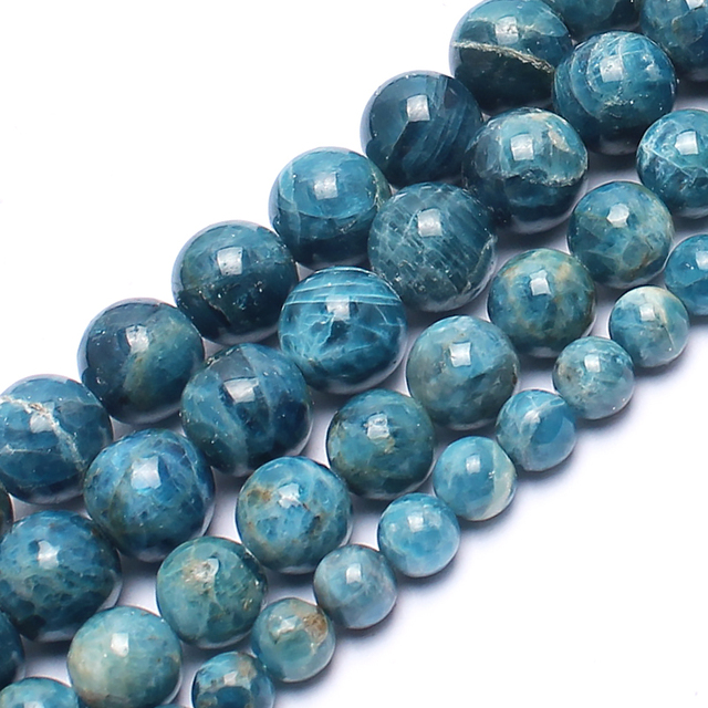 Natural Stone Beads Genuine Ocean Apatite Stone Beads For Jewelry Making Bracele