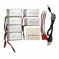 SYMA X56 X56W X54HW 6PCS 3.7V 850mah Lithium Battery with 6 in 1 Charger for Accessory Folding UAV Parts
