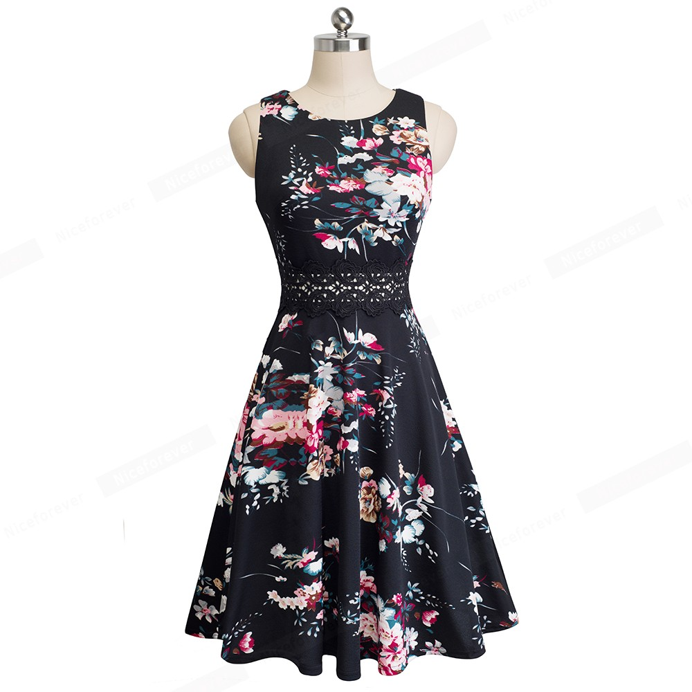 Nice-forever Vintage Elegant Embroidery Floral Lace Patchwork vestidos A-Line Pinup Business Women Party Flare Swing Dress A079 64