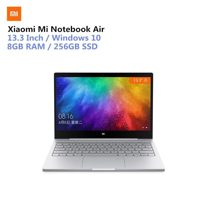 Xiaomi Mi Notebook Air 13.3 Win10 Intel Core I5-7200U/I5-8250U/I7-8550U Dual Core 2.5GHz 8GB RAM 256GB SSD Fingerprint Laptops getworth s6 office desktop computer free keyboard and mouse intel i5 8500 180g ssd 8g ram 230w psu b360 motherboard win10