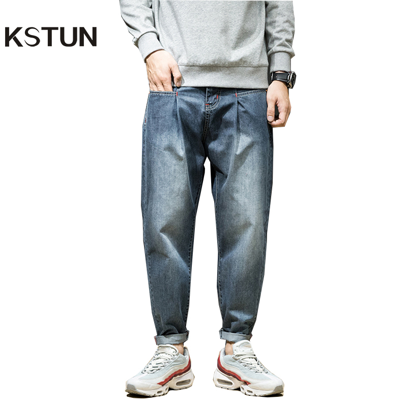 KSTUN Jeans Men Japanese Harem Pants Vintage Blue Loose Casual Hip Hop Streetwear Wide Leg Baggy Dance Punk Style Large Size 42
