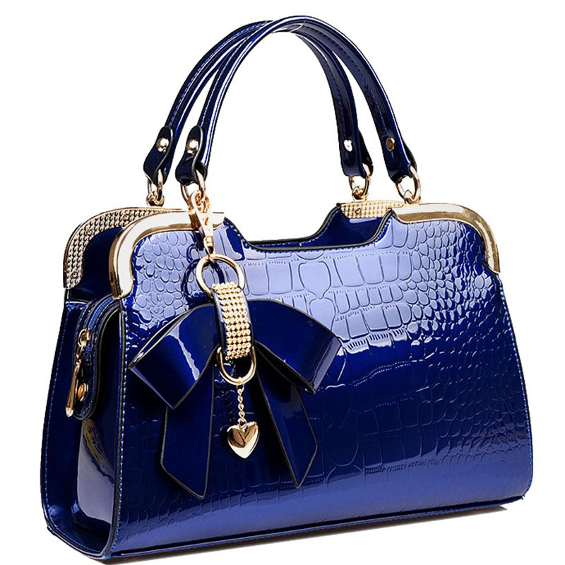 2017 new Patent leather crocodile fashion trend ladies bag burst shall stone grain bow Handbag Shoulder cross handbag   A40-345
