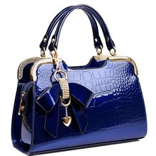 2016 new Patent leather crocodile fashion trend ladies bag burst shall stone grain bow Handbag Shoulder cross handbag A40-345