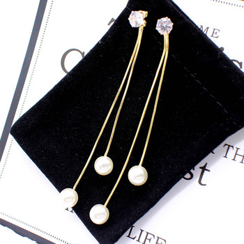 Fashion Long Tassel Simulated Pearl Drop Earrings for women girl Rhinestone exquisite Snake Chain Pendant Earring Brincos Bijoux 4