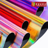 Shiny small gravel laser pvc leather illusion hot stamping polka dot fabric metal colorful stone pattern artificial leather 1m