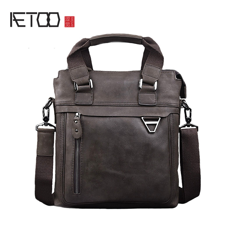 AETOO Retro cowhide male bag crazy horse leather vertical handbag men leather briefcase shoulder Messenger joyir men briefcase real leather handbag crazy horse genuine leather male business retro messenger shoulder bag for men mandbag