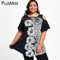 PlusMissขนาดบวก5XLฤดูร้อนดอกไม้ลายพิมพ์Tunicท็อปส์ผู้หญิงเสื้อผ้าขนาดใหญ่เซ็กซี่