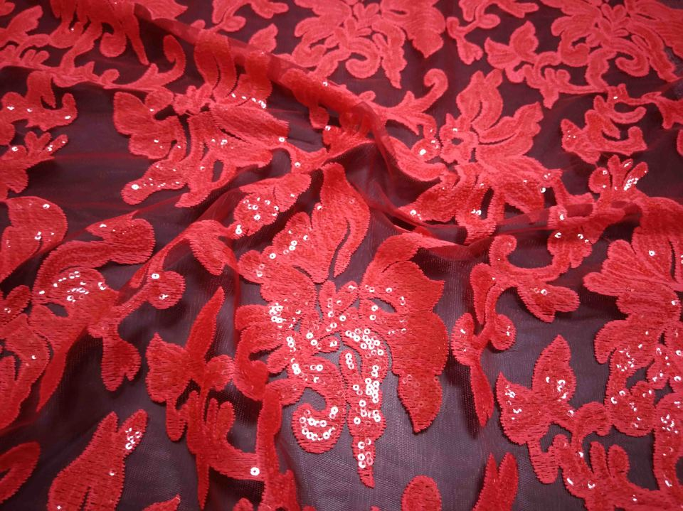 Red Sequined African French Mesh Net Lace Fabric For India Evening Party Dress Fabrics 2018 New