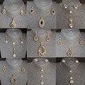 Venta caliente Plateada Oro de Sistemas de La Joyería Para Las Mujeres Austria Crystal Rhinestone Collar de Múltiples Capas Pendientes de Los Granos Africanos Joyería Conjunto